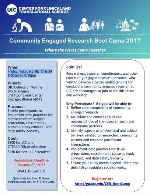 UIC Research Boot Camp flyer